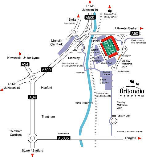 Map of area around Britannia Stadium